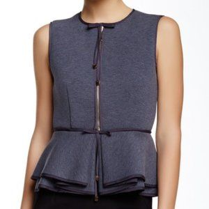 NWT Gracia Scuba Zip Front Sleeveless Peplum Top S
